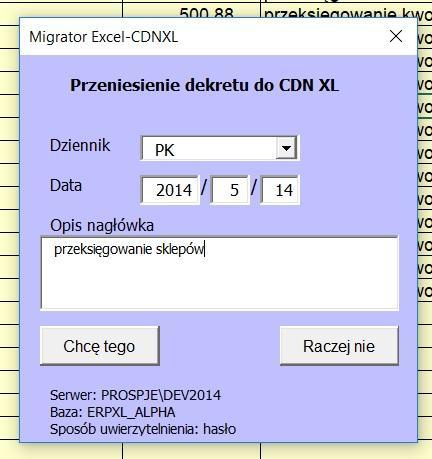 SXJ017 wskazanie parametrów dla dekretu księgowego
