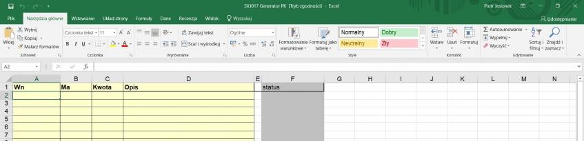 Format danych Excel dl generowania PK