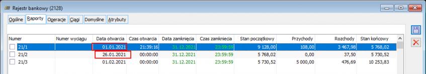 Luki w numeracji dziennych raportów bankowych