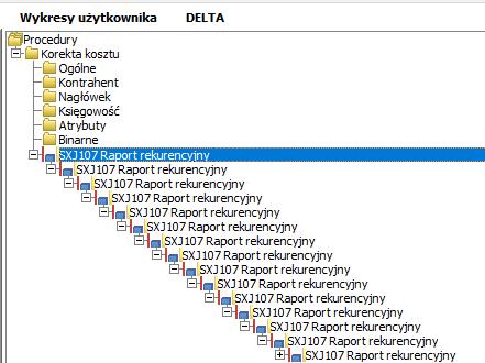 Raport rekurencyjny zagnieżdżony ERP XL
