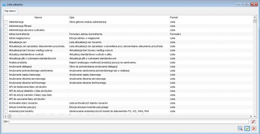 lista zakazów w ERP XL