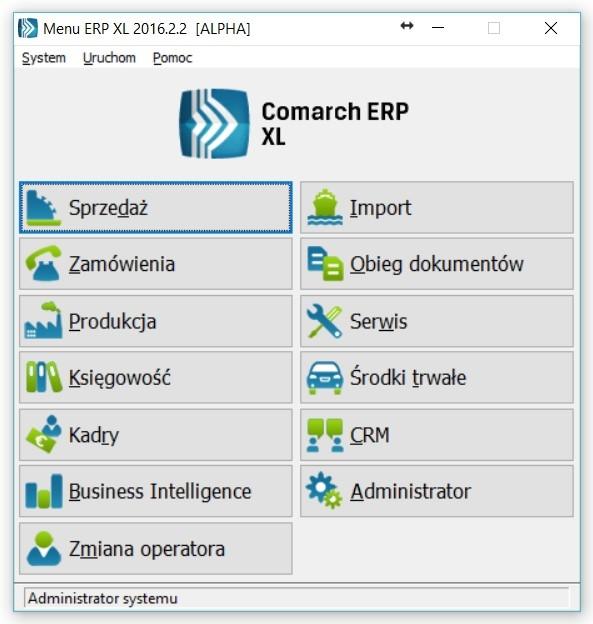 Menu startowe ERP XL w wersji 2016 z listą dostępnych na danym komputerze modułów
