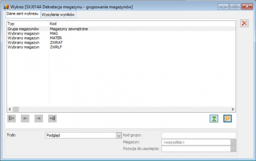 Etap 1 konfiguracji raportu - zdefiniowanie grup magazynów