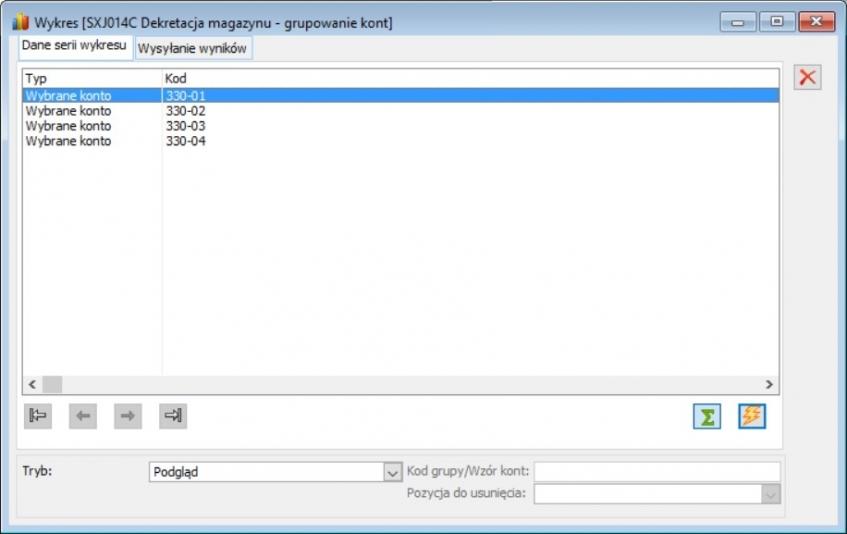 Etap 2 konfiguracji raportu - zdefiniowanie grup kont księgowych