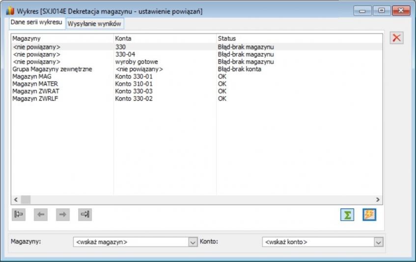 Etap 3 konfiguracji raportu - ustawienie powiązań pomiędzy magazynami, a kontami