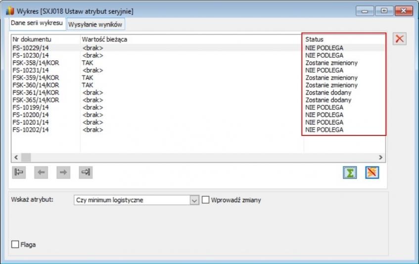Kolumna Status informuje o możliwości aktualizacji atrybutu na dokumencie