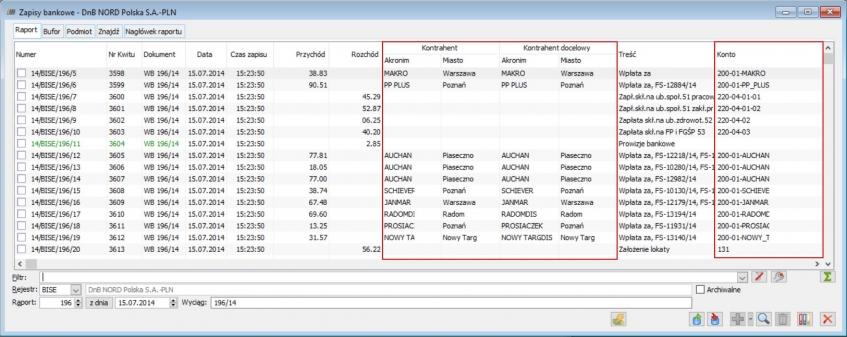 Lista zapisów bankowych - pola objęte seryjną aktualizacją