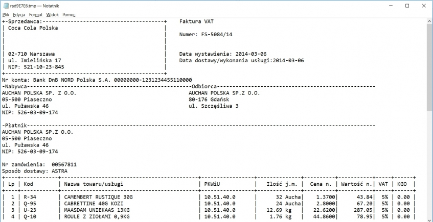 Dodatek ERP XL typu wydruk tekstowy