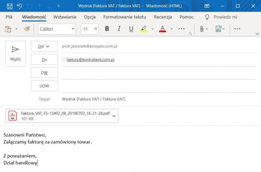 Faktura elektroniczna jako załącznik w e-mail