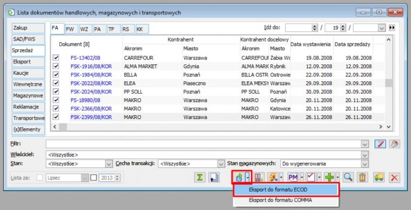 Eksport do EDI w Comarch ERP XL