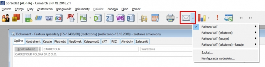 Eksport faktury do PDF w Comarch ERP XL