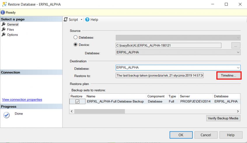 Odtworzenie kopii bazy danych w trybie full recovery mode
